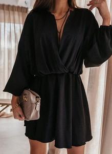 Sukienka Arilook z długim rękawem w stylu boho z dekoltem w kształcie litery v