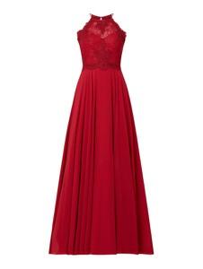 Czerwona sukienka Luxuar z dekoltem w kształcie litery v