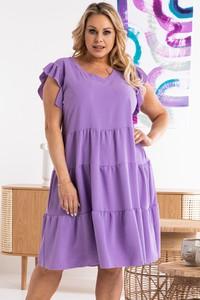 Fioletowa sukienka KARKO z krótkim rękawem oversize z tkaniny