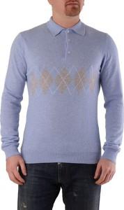 Niebieski sweter Conte of Florence w młodzieżowym stylu z kaszmiru