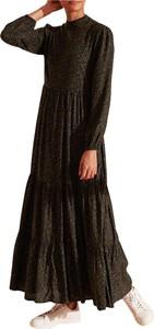 Czarna sukienka Superdry z długim rękawem maxi