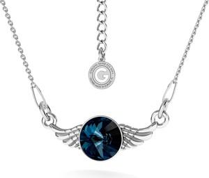 GIORRE SREBRNY NASZYJNIK SKRZYDŁA SWAROVSKI RIVOLI 925 : Kolor kryształu SWAROVSKI - Denim Blue, Kolor pokrycia srebra - Pokrycie Jasnym Rodem