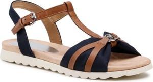 Granatowe sandały Tom Tailor z klamrami