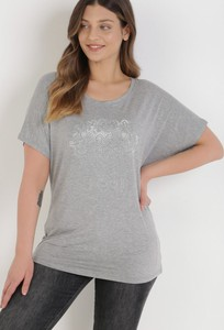 T-shirt born2be z okrągłym dekoltem