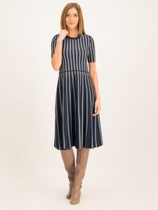 Granatowa sukienka Tory Burch z krótkim rękawem mini rozkloszowana