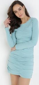 Niebieska sukienka born2be dopasowana mini w stylu casual