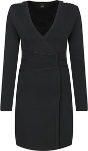 Czarna sukienka Pinko z dekoltem w kształcie litery v kopertowa z długim rękawem