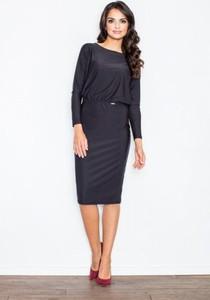 Granatowa sukienka Figl z długim rękawem midi