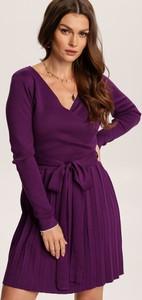 Fioletowa sukienka Renee z długim rękawem mini w stylu casual