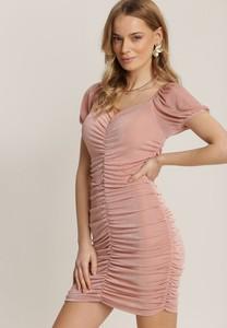 Różowa sukienka Renee mini z krótkim rękawem dopasowana