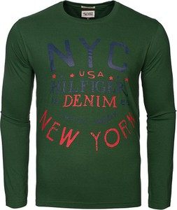 Zielona koszulka z długim rękawem Tommy Hilfiger w młodzieżowym stylu