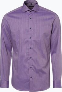 Fioletowa koszula Eterna z długim rękawem z bawełny w stylu casual