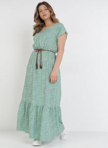 Zielona sukienka born2be maxi z okrągłym dekoltem z krótkim rękawem