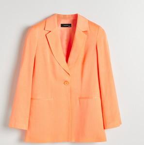 Pomarańczowa marynarka Reserved z tkaniny długa