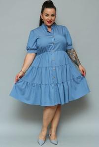 Niebieska sukienka KARKO szmizjerka
