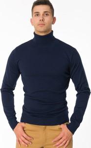 Granatowy sweter M&m z wełny