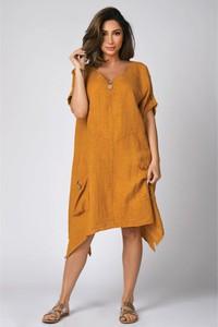 Sukienka Plus Size Company z lnu z dekoltem w kształcie litery v w stylu casual