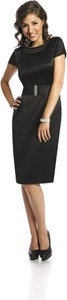 Sukienka Fokus midi z krótkim rękawem z okrągłym dekoltem