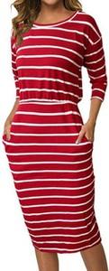 Czerwona sukienka Cikelly w stylu casual z okrągłym dekoltem ołówkowa
