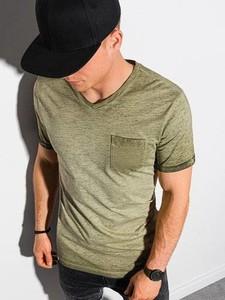 Zielony t-shirt Ombre z bawełny z krótkim rękawem