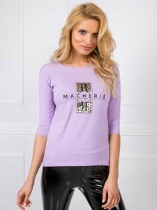 Fioletowa bluzka Sheandher.pl z krótkim rękawem z bawełny w młodzieżowym stylu