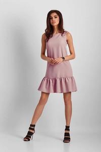 Różowa sukienka Ivon z okrągłym dekoltem