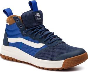 Niebieskie buty sportowe Vans w młodzieżowym stylu sznurowane ze skóry ekologicznej