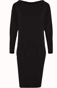 Czarna sukienka Byinsomnia z dekoltem w łódkę z bawełny
