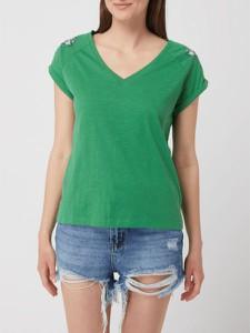Zielona bluzka Esprit w stylu casual z krótkim rękawem z dekoltem w kształcie litery v