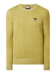 Żółty sweter Aeronautica Militare z bawełny z okrągłym dekoltem w stylu casual