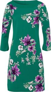 Zielona sukienka More & More z dekoltem w łódkę mini w stylu casual