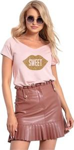 Różowy t-shirt Knitis z okrągłym dekoltem