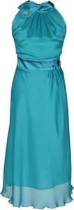 Turkusowa sukienka Fokus midi z szyfonu bez rękawów