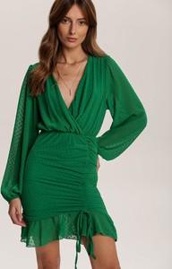 Zielona sukienka Renee z dekoltem w kształcie litery v z długim rękawem mini