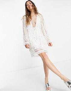Sukienka Asos prosta mini z długim rękawem