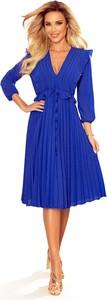 Niebieska sukienka NUMOCO z dekoltem w kształcie litery v midi z długim rękawem