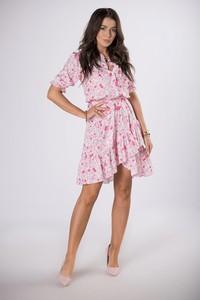 Różowa sukienka Ptakmoda.com z krótkim rękawem z dekoltem w kształcie litery v mini