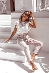 Bluzka Rose Boutique w stylu boho z okrągłym dekoltem z bawełny
