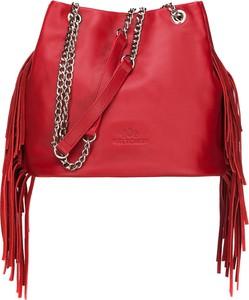 fe553a35cf154 Czerwona torebka Wittchen z frędzlami w stylu boho ze skóry