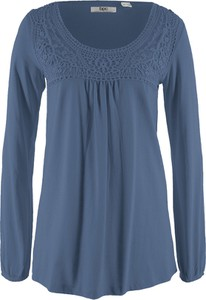 Niebieski t-shirt bonprix bpc bonprix collection z okrągłym dekoltem z bawełny z długim rękawem