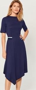 Niebieska sukienka Mohito midi z krótkim rękawem