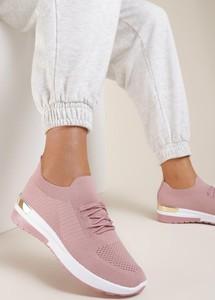 Różowe buty sportowe Renee sznurowane z zamszu