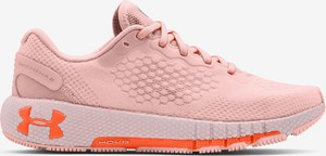 Różowe buty sportowe Under Armour z płaską podeszwą sznurowane ze skóry