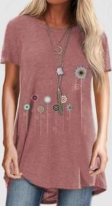 Różowa bluzka Sandbella z okrągłym dekoltem