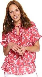 Bluzka Top Secret z krótkim rękawem ze sznurowanym dekoltem w stylu boho