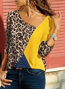 Żółta bluzka Cikelly z długim rękawem z okrągłym dekoltem
