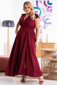 Czerwona sukienka KARKO maxi dla puszystych z tkaniny
