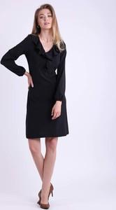 Czarna sukienka Nommo z długim rękawem z dekoltem w kształcie litery v mini