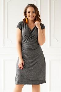 Sukienka Sklep XL-ka z krótkim rękawem z dekoltem w kształcie litery v