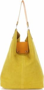 Żółta torebka VITTORIA GOTTI duża ze skóry